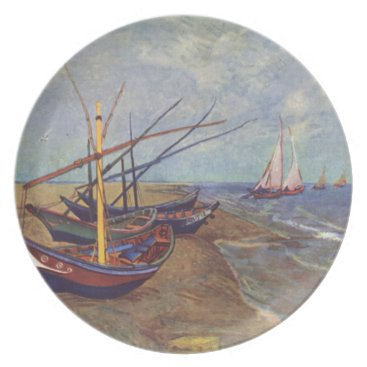 Beach Themed Fishing Boats on the Beach by Vincent Van Gogh Dinner Plate