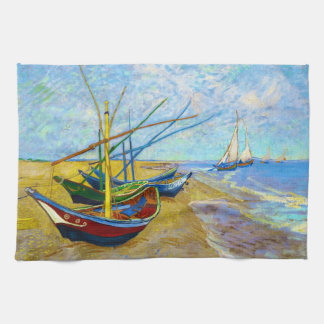 Fishing Boats on the Beach by Vincent Van Gogh Hand Towel