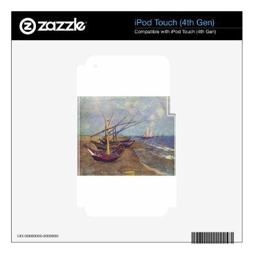 Beach Themed Fishing Boats on the Beach by Vincent Van Gogh iPod Touch 4G Skin