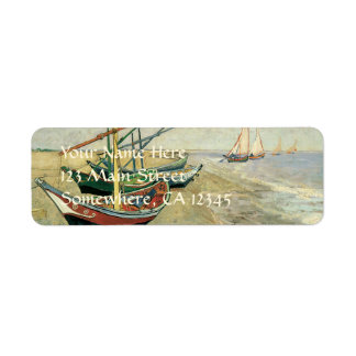 Fishing Boats on the Beach by Vincent van Gogh Label