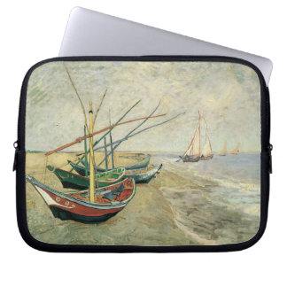 Fishing Boats on the Beach by Vincent van Gogh Laptop Sleeve