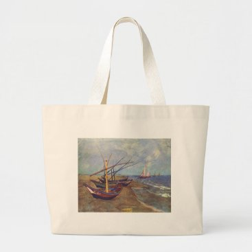 Beach Themed Fishing Boats on the Beach by Vincent Van Gogh Large Tote Bag