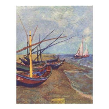 Beach Themed Fishing Boats on the Beach by Vincent Van Gogh Letterhead