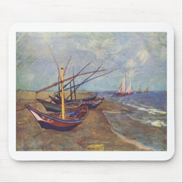 Beach Themed Fishing Boats on the Beach by Vincent Van Gogh Mouse Pad