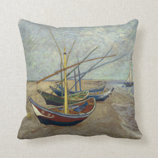 Fishing Boats on the Beach by Vincent Van Gogh Pillow