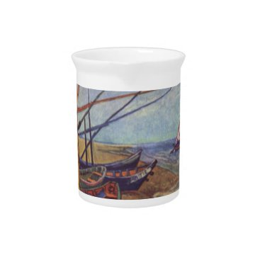 Beach Themed Fishing Boats on the Beach by Vincent Van Gogh Pitcher