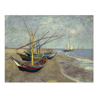 Fishing Boats on the Beach by Vincent Van Gogh Post Card