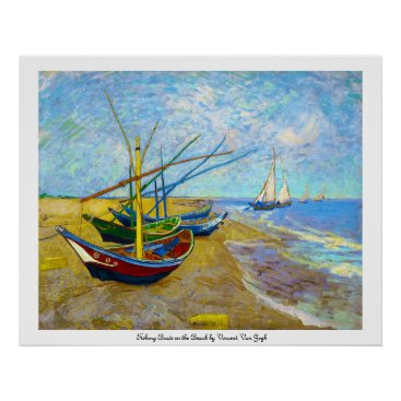 Beach Themed Fishing Boats on the Beach by Vincent Van Gogh Poster