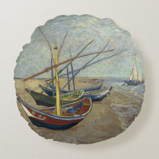Fishing Boats on the Beach by Vincent Van Gogh Round Pillow