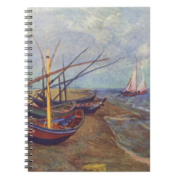 Beach Themed Fishing Boats on the Beach by Vincent Van Gogh Spiral Notebook