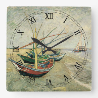 Fishing Boats on the Beach by Vincent van Gogh Square Wall Clock