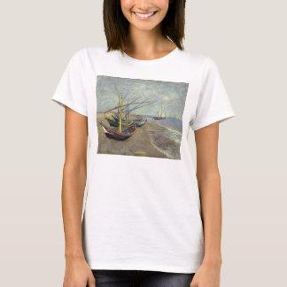Fishing Boats on the Beach by Vincent Van Gogh T-Shirt