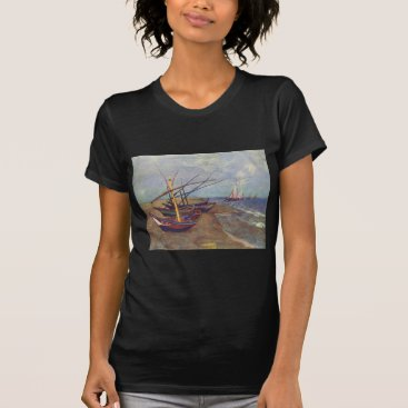 Beach Themed Fishing Boats on the Beach by Vincent Van Gogh T-Shirt