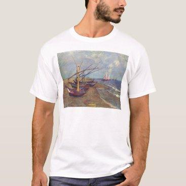 Beach Themed Fishing Boats on the Beach by Vincent Van Gogh T-Shirt