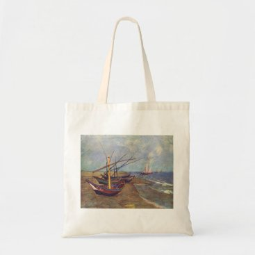 Beach Themed Fishing Boats on the Beach by Vincent Van Gogh Tote Bag