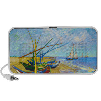 Fishing Boats on the Beach by Vincent Van Gogh Travelling Speaker