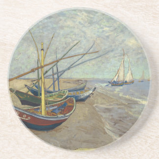 Fishing boats on the beach drink coaster