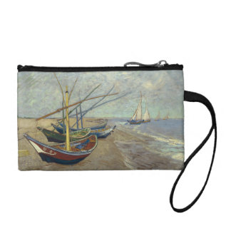 Fishing boats on the beach coin wallet