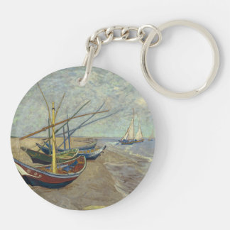 Fishing boats on the beach Double-Sided round acrylic keychain