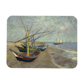 Fishing boats on the beach magnet