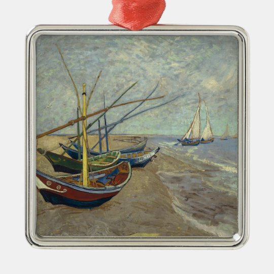 Fishing boats on the beach metal ornament