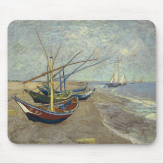 Fishing boats on the beach mouse pad