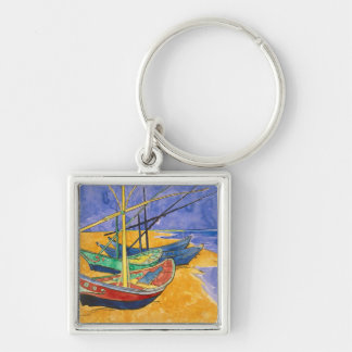 Fishing Boats on the Beach Silver-Colored Square Keychain