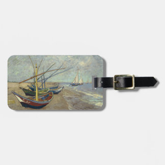 Fishing boats on the beach tag for luggage