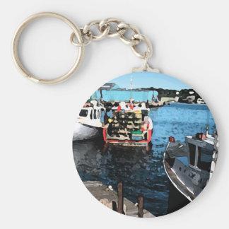 Fishing Boats Painting Keychain