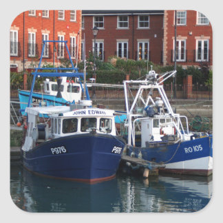 Fishing boats, Portsmouth, England Square Sticker