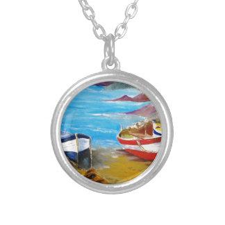 Fishing boats round pendant necklace