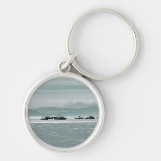 Fishing Boats Silver-Colored Round Keychain