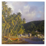Fishing boats, Soufriere, St Lucia, Caribbean Ceramic Tile