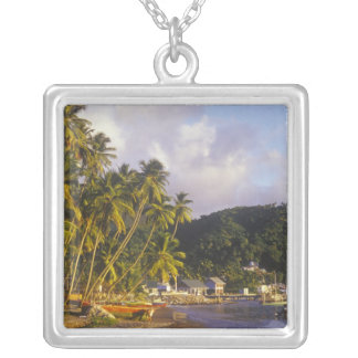 Fishing boats, Soufriere, St Lucia, Caribbean Silver Plated Necklace