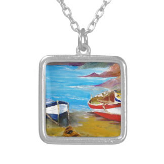Fishing boats square pendant necklace