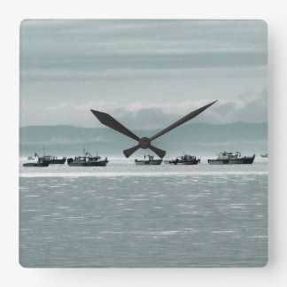 Fishing Boats Square Wall Clock