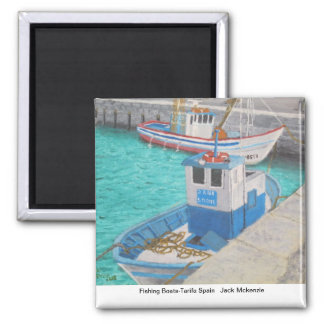 Fishing Boats-Tarifa Spain 2 Inch Square Magnet