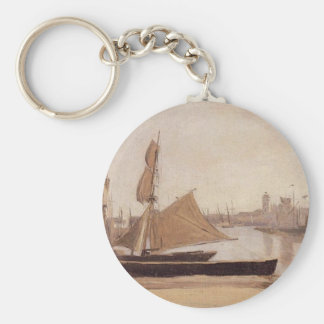 Fishing Boats Tied to the Wharf by Camille Corot Keychain