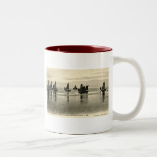 Fishing Boats, Wimereux, France 1913 Vintage Two-Tone Coffee Mug