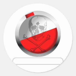 Fishing Bobber Skull and Crossbones Classic Round Sticker
