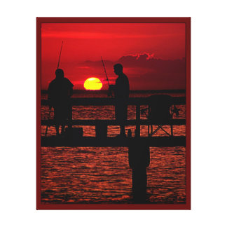 Fishing Buddies at Sunset Canvas Print