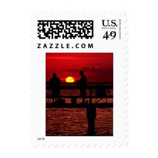 Fishing Buddies at Sunset Stamps