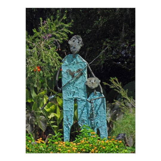 Fishing buddies, statues in a garden poster