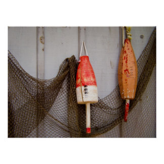 Fishing Buoys and Net Poster