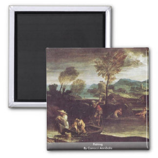 Fishing By Carracci Annibale 2 Inch Square Magnet