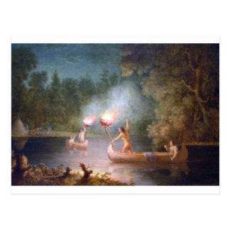 Fishing by Torchlight. Postcard