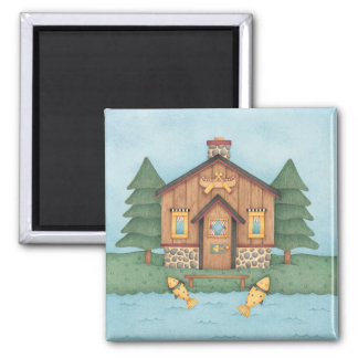 Fishing Cabin 2 Inch Square Magnet