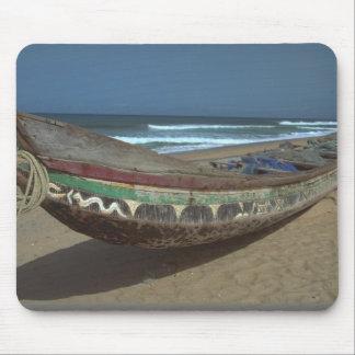 Fishing canoe on Keta Beach, Ghana Mouse Pad