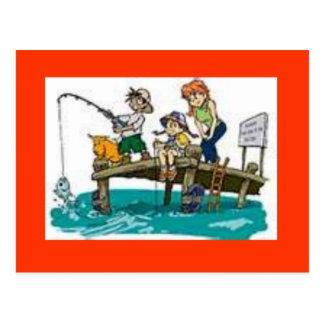 fishing cartoon art postcard