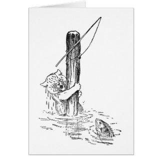 Fishing Cat Falls In Card